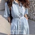 韓系修身連身裙 襯衫洋裝 韓版翻領系扣雙口袋收腰短袖牛仔連身裙N515-D.6968 依品國際
