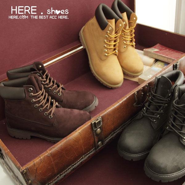 [Here Shoes]2色 男款 全牛皮製 磨砂皮圓頭靴工作靴 情侶鞋 黃金靴 Timberland同鞋廠─KV098