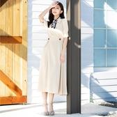 單一優惠價[H2O]前襟交叉泡泡袖中高腰長洋裝 - 藍/米卡/粉桔色 #0674009