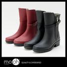 日本皮帶扣拉鏈中筒雨鞋 素色雨鞋 輕量 ...