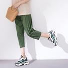 【慢。生活】小熊繡線寬管九分褲 13069  FREE 綠色