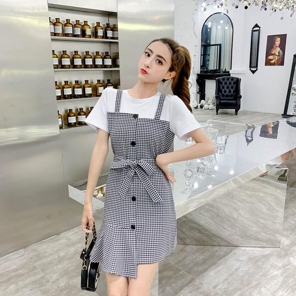 VK旗艦店 韓國學院風假兩件格紋拼接短版紐扣短袖洋裝