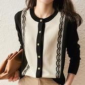 蕾絲打底衫 氣質秋冬蕾絲花邊羊絨開衫女新款圓領針織衫寬鬆外套羊毛打底外搭 韓國時尚週