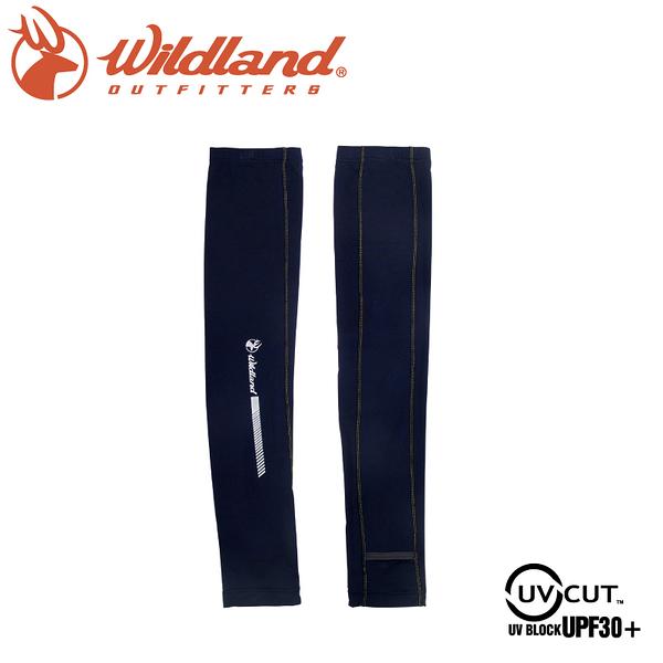 【Wildland 荒野 中性印花開洞抗UV透氣袖套《深藍》】W1810/春夏款/抗UV/防曬袖套