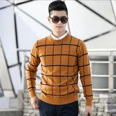 毛衣圓領針織衫-羊毛百搭加厚格子新款男上衣3色72k1[巴黎精品]