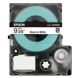 【EPSON 標籤帶】EPSON   LC-3WBN /  LK-3WBN白底黑字  標籤帶 / 標籤機色帶