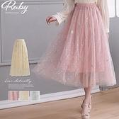 裙子 刺繡羽毛點點鬆緊紗裙長裙-Ruby s 露比午茶