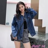 牛仔外套牛仔外套女2021春秋季韓版新款bf寬鬆顯瘦學生大碼網紅上衣夾克潮 JUST M