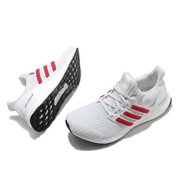 adidas 慢跑鞋 Ultra Boost 4.0 DNA 白 紅 女鞋 Boost 頂級緩震舒適 運動鞋 【ACS】 FY9336
