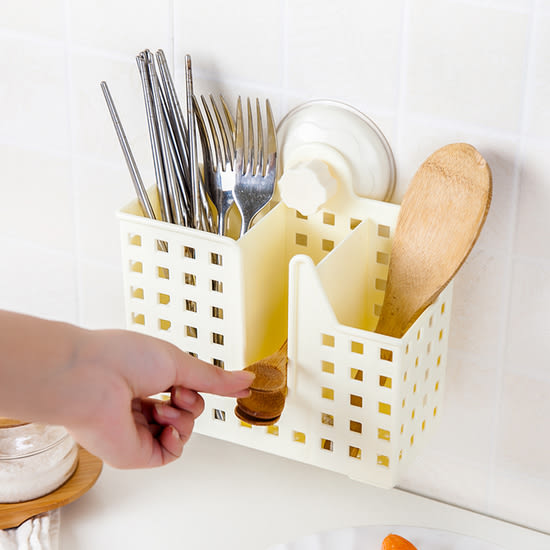 ♚MY COLOR♚雙吸盤分格收納架 置物 餐具 鏤空 通風 瀝水 乾燥 瀝乾 廚房 懸掛 抑菌【G48】
