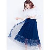 CANTWO百褶網紗蕾絲長裙藍色款~春夏新品登場