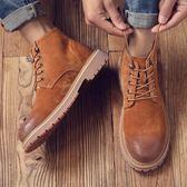 男靴子 馬丁靴 秋冬新款真皮男靴英倫復古高幫潮流男士皮靴大頭工裝男短靴《印象精品》q1344