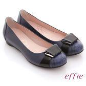 effie 舒適樂活 全羊皮立體釦飾壓紋平底鞋  藍