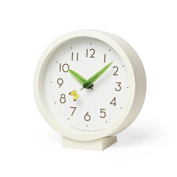 日本 Lemnos Perch Tento Mini Table Clock 15cm 巧合系列 昆蟲樹葉造型 小型桌鐘 / 壁鐘(紋黃蝴蝶款)