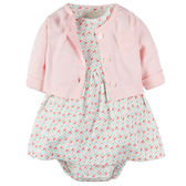 套裝 Carter's / Carter / 卡特 外套+短袖包屁洋裝 套裝2件組 - 粉色外套 / 粉綠幾何洋裝 126G284