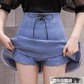 牛仔褲裙 牛仔裙褲一體假兩件夏季新款高腰顯瘦A字學生防走光半身裙女