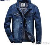 冬季新款牛仔加絨加厚外套男士修身大碼韓版夾克牛仔上衣保暖棉服      瑪奇哈朵