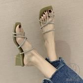 外穿水鉆涼拖鞋夏季時尚粗跟夾腳套趾一字拖【貼身日記】