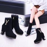 馬丁靴女2018秋冬季新款女士短筒靴加絨磨砂皮短靴高跟粗跟女靴子 美芭