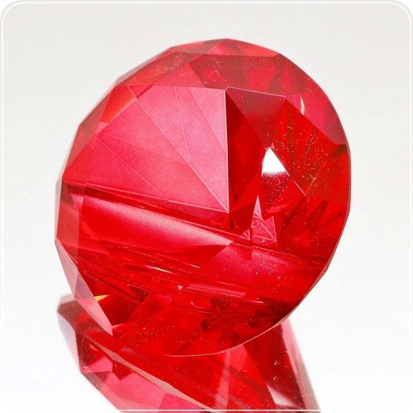 紅水晶鑽石造型立體名片座/紙鎮/名片夾【雅典娜家飾】