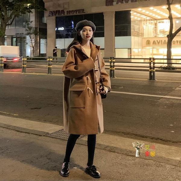 牛角釦大衣 中長款外套牛角釦大衣女秋冬季新款韓版學生洋氣小個子中長款外套厚T