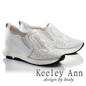 ★2017春夏★Keeley Ann個性玩酷~水鑽字母造型網紗透膚全真皮內增高休閒鞋(白色)-Ann系列