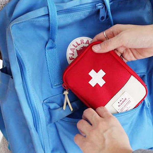 【BlueCat】韓風旅行必備隨身紅藍十字收納藥包 藥袋