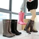 戈念雨鞋女高筒時尚韓國可愛水鞋女雨靴長筒套鞋防滑外穿工作膠鞋 小時光生活館