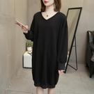 大碼女裝款加絨加厚胖mm300斤-260斤中長款T恤洋裝打底衫 夏季新品