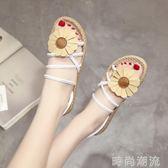 涼鞋羅馬風潮韓國夏季新款學生沙灘女鞋花朵細帶裝飾平底百搭露趾涼鞋 時尚潮流