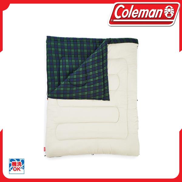 【Coleman 冒險者橄欖格紋刷毛睡袋/C0】33804/露營/可拆式/化纖睡袋/信封型睡袋/雙人睡袋