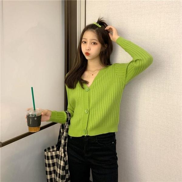 針織上衣 初秋新款韓版短款針織開衫寬松V領上衣網紅長袖毛衣外套女 莎瓦迪卡
