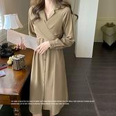 長袖洋裝 超好看素色襯衫連身裙-媚儷香檳-【FD0158】