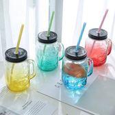 吸管杯韓版創意便攜杯帶蓋玻璃杯女學生透明水杯隨手家用喝水帶吸管杯子【全館限時88折】