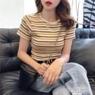 條紋短袖t恤女2020新款網紅ins潮高腰短款顯瘦上衣緊身半袖體恤夏