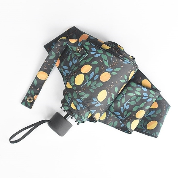 【現貨】清新圖案 迷你 黑膠五折傘 防曬雨傘 抗UV 碳纖維骨架 超小型便攜 摺疊傘