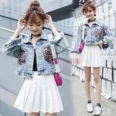 2020夏季新款重工很仙的亮片牛仔外套女短款上衣寬鬆bf流行大碼牛仔衣 LR24184『麗人雅苑』