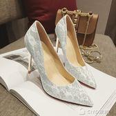 金銀色宴會尖頭高跟鞋細跟性感淺口單鞋女白色蕾絲婚紗照鞋婚禮鞋 ciyo黛雅