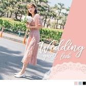 《DA6523》婚禮系列~純色蕾絲雕花腰鬆緊拼接荷葉裙襬洋裝 OrangeBear