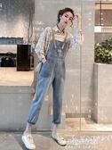 吊帶褲 牛仔背帶褲女寬鬆春夏新款韓版減齡直筒九分褲休閒百搭吊帶連身褲 朵拉朵YC