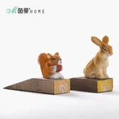 創意實木木制門擋 兔子/鬆鼠動物木雕門擋家居用品【全館免運】