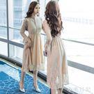 秋裝蕾絲洋裝 流行新款韓版打底性感夏季蕾絲連身裙過膝長裙子 KV3142 『小美日記』