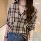 大碼襯衫外套女2021秋裝新款胖mm寬鬆遮肚中長款襯衣長袖格子上衣 夏季新品