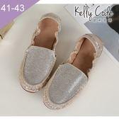 大尺碼女鞋-凱莉密碼-時尚金屬色閃亮水鑽莫卡辛蛋捲樂福鞋1cm(41-43)【DS268-19】金色