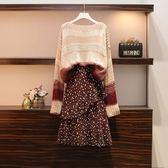中大尺碼 棉花糖女生L-4XL大碼女裝顯瘦毛衣洋氣減齡針織套裝4F079.5111韓依紡