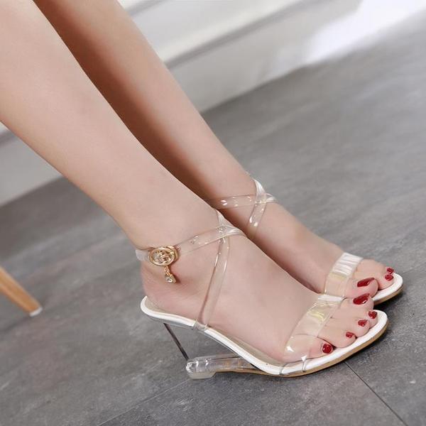 夏季新款高跟涼鞋女鬆糕底魚嘴水晶鞋透明水鉆交叉帶韓版坡跟涼鞋
