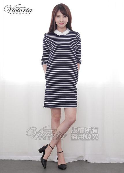 Victoria 蕾絲領條紋七分袖長洋裝式T-女-深藍