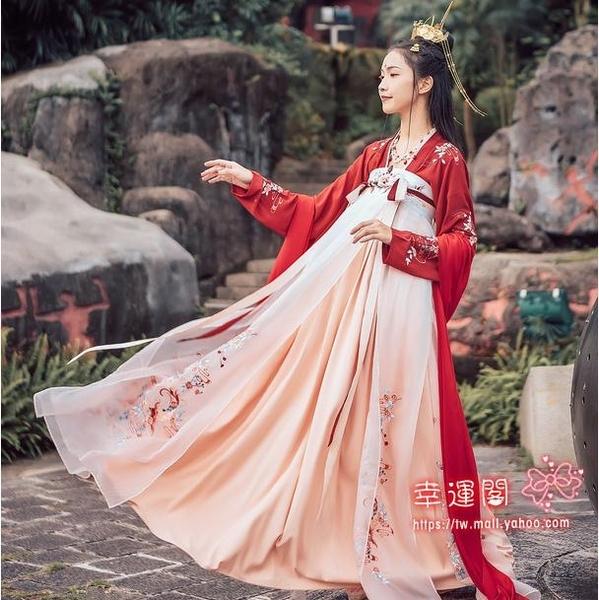 古裝漢服 錦鯉裙漢服女古裝中國風紅色古風改良刺繡齊胸襦裙仙女裙飄逸超仙T XS-XL