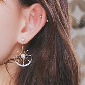 耳環 簡約 鑲鑽 太陽 月亮 拼接 水晶 耳釘 耳環