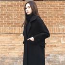 限定款秋冬新款正韓寬鬆顯瘦黑色呢子大衣中長款毛呢外套女潮